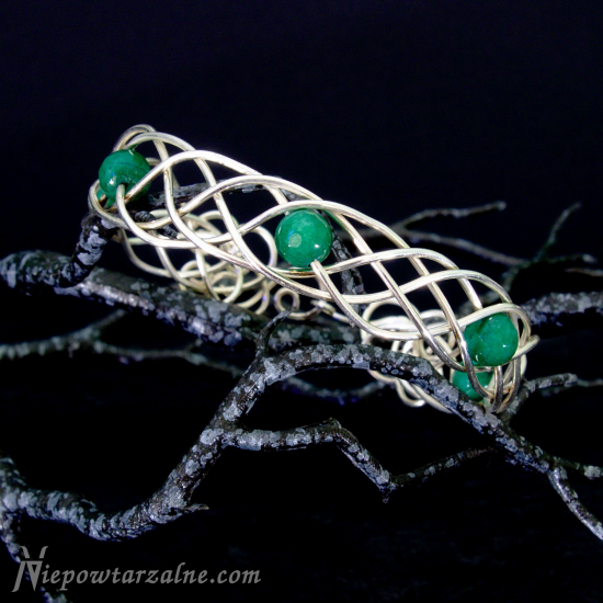 "Srebrna bransoletka ""Celtic"" zielona"