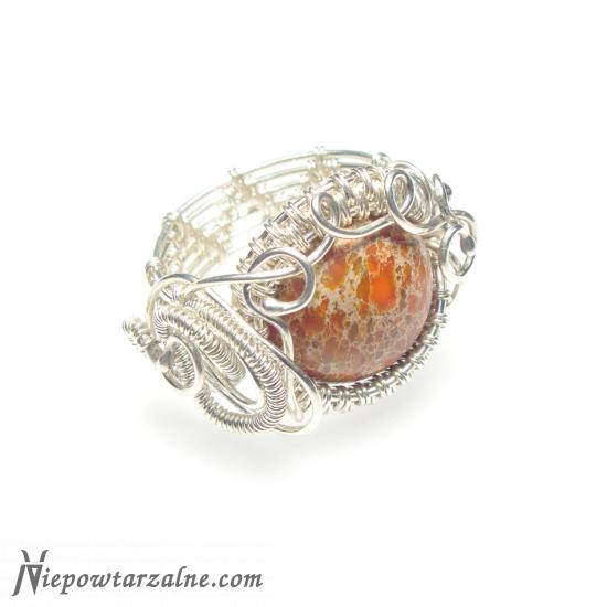 Pierścień Orange Jaspis Aqua Terra