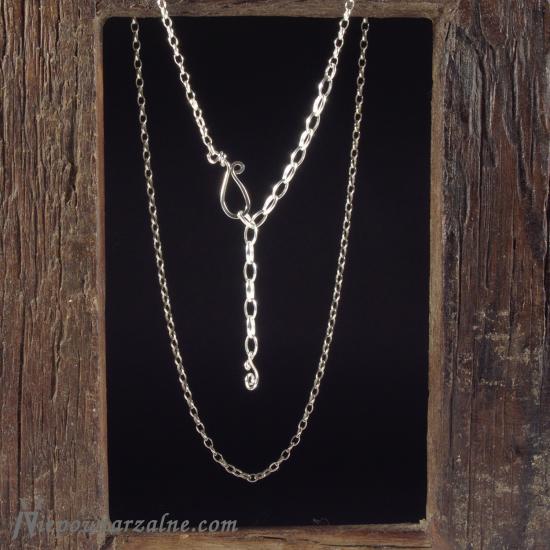 Srebrny łańcuszek średni z regulacją - 53 cm
