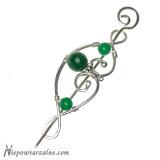 Srebrna broszka z zielonym jadeitem