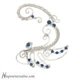 Srebrna nausznica z niebieskim hematytem