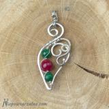 Srebrny wisiorek z jadeitem